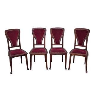 Antique French Art Nouveau Walnut Dining Chairs - Set of 4
