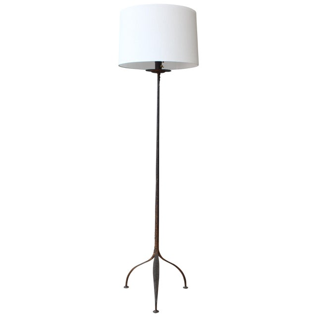 Iron Floor Lamp With Etched Details, 1950s, Spain For Sale