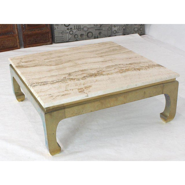 1970s Modern Solid Brass Base Square Travertine Top Coffee Table For Sale - Image 6 of 10