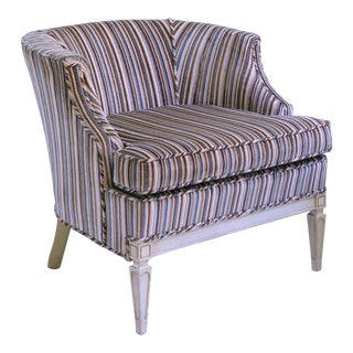 Vintage Mid Century French Neoclassical Barrel Chair For Sale