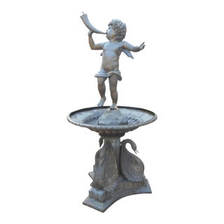 Bronze Fountain With a Cherub on Top For Sale