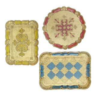 Italian Florentine Gilt Trays, Set of 3 For Sale
