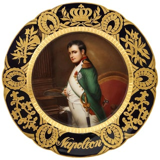 """Rare and Exceptional Royal Vienna Porcelain Plate of """"Napoleon"""" by Wagner For Sale"""