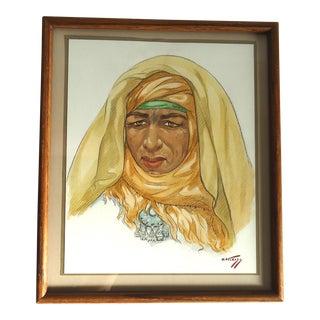 Hans Kleiss Mid-Century Moroccan Woman Portrait For Sale
