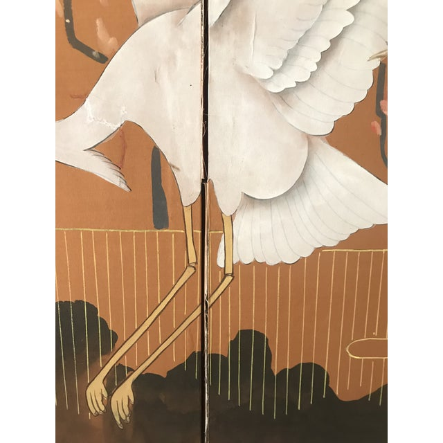 1960s Japanese Dancing Cranes Screen For Sale - Image 4 of 12
