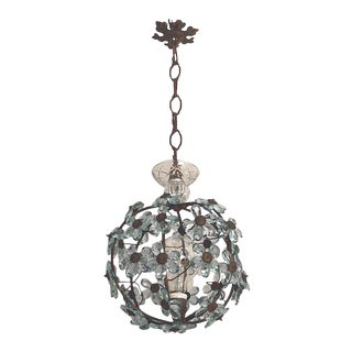 Italian Crystal Flower Pendant Light For Sale