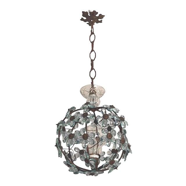Italian Crystal Flower Pendant Light For Sale