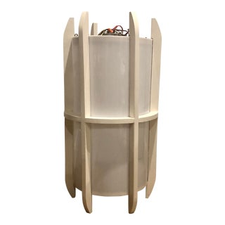 Mid Century Modern Gigantic Organic Cylinder and Painted Vintage Monumental Teak Danish Style Custom Pendant in the Style of McFadden For Sale