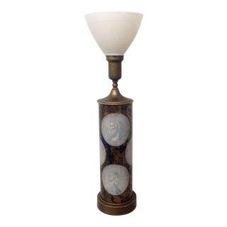 Mid-Century Eglomise Fornasetti Coin Style Lamp