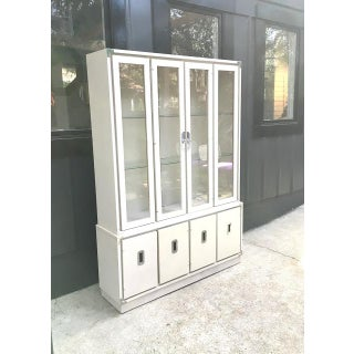 1970s Vintage Bernhardt Ivory Campaign China Cabinet Preview