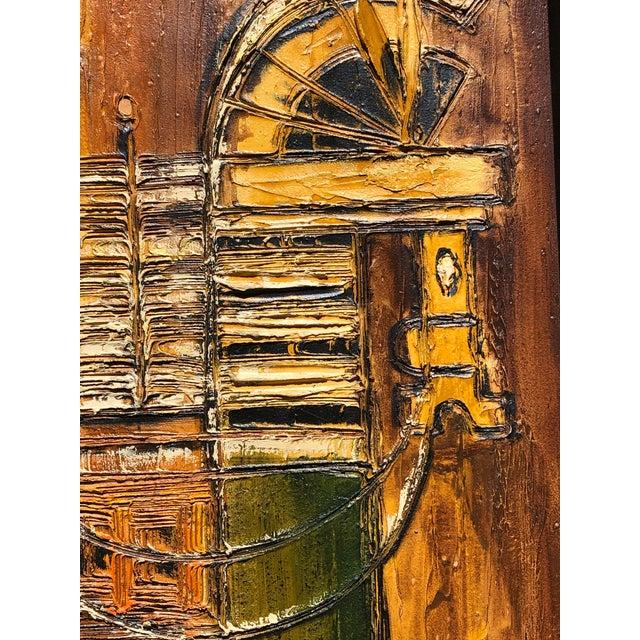 Mid-Century Original Van Hoople Impasto Oil on Board For Sale - Image 4 of 6