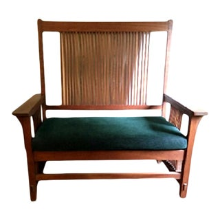 Vintage Stickley Mission Oak Spindle Back Settee For Sale