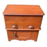 Image of 19th Century Victorian Country Cottage Pine Trunk Blanket Chest Cabinet Commode For Sale