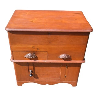 19th Century Victorian Country Cottage Pine Trunk Blanket Chest Cabinet Commode For Sale
