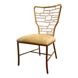 Currey & Co. Modern Gold and Velvet Vinton Side Chair For Sale