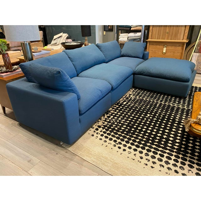 Contemporary Overstuffed Blue Linen 4 Piece Sectional Sofa For Sale - Image 3 of 13