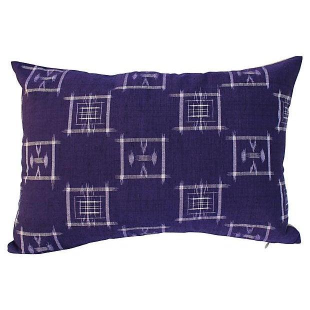 Pair of pillows made with vintage Japanese indigo-dyed cotton kimono fragment from a Parisian flea market. New linen...