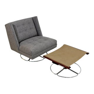 Mid-Century Modern Gray With Chrome Base Swivel Chair & Ottoman For Sale
