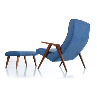 Restored Jens Risom Style Compass Leg Scoop Lounge Armchair and Ottoman, 1950s Preview