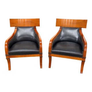 Vintage Mid Century Biedermeier Style Club Chairs- A Pair For Sale