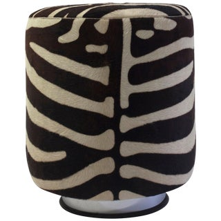 Round Pouf on Steel Metal Base With Faux Animal Skin and Self Welt at the Seat For Sale