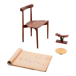 Clarence Teed Collection of a Chair, a Platter, a Sculpture, and a Sketch Book For Sale