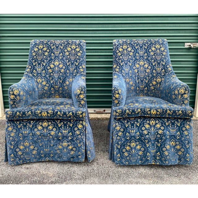 Textile George Smith Georgian Desk Chairs - a Pair For Sale - Image 7 of 7