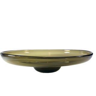 1960s Vintage Bengt Orup for Johansfors Swedish Glass Decorative Bowl For Sale