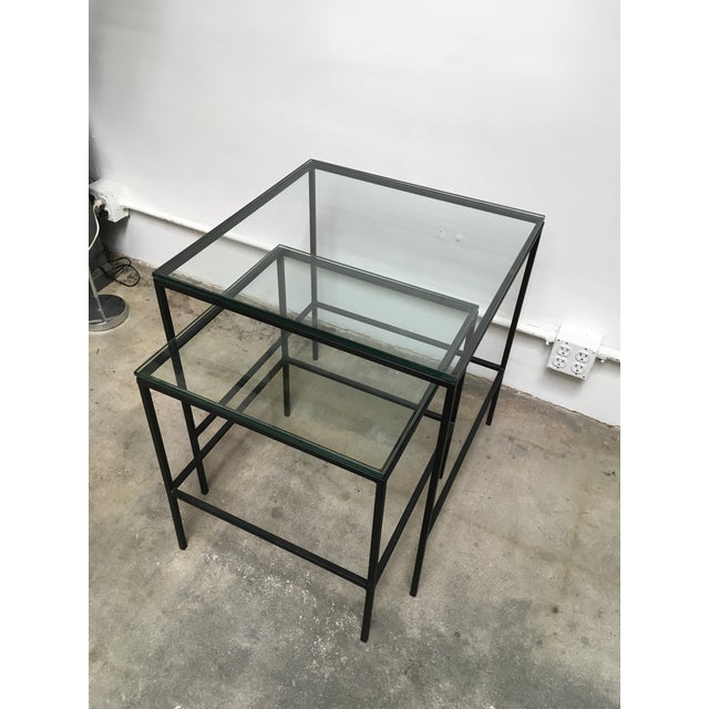 1950s Mid Century Modern Black Iron Frame & Glass Top Nesting Tables - 2 Pieces For Sale In Los Angeles - Image 6 of 13