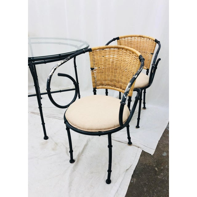 Faux Bamboo Vintage Regency Style Dining Set For Sale - Image 7 of 12
