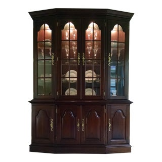 1990s Traditional Solid Cherry Canted China Cabinet