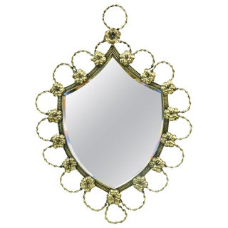 Polished Brass Shield-Shaped Mirror, 19th Century For Sale