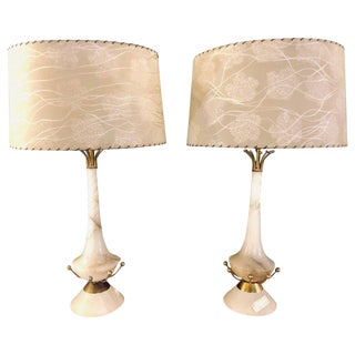 Pair of Alabaster Art Deco Lamps With Original Shades For Sale