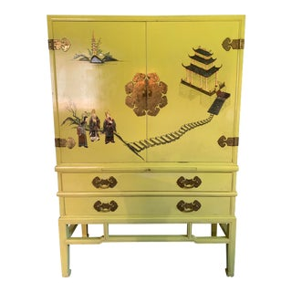 Chinese Yellow Painted Media Cabinet and Chest of Drawers For Sale