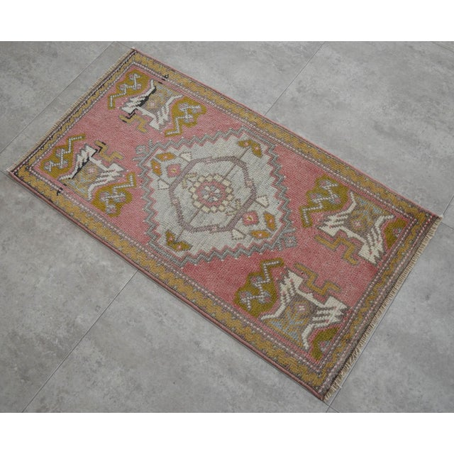 a Vintage Small rug, hemp background color yastik rug perfect for a small guest bath or in front of the kitchen sink