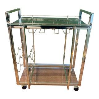 Modern Brass Bar Cart For Sale