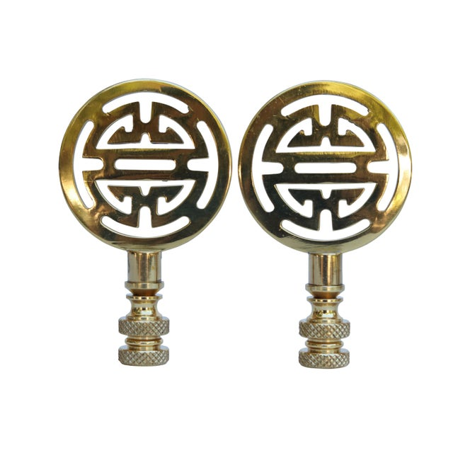 Chinoiserie Style Solid Brass Lamp Finials - a Pair For Sale - Image 4 of 4