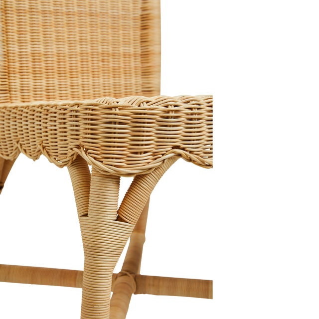 Wood Linton Scalloped Rattan Side Chairs, Set of 2 For Sale - Image 7 of 12