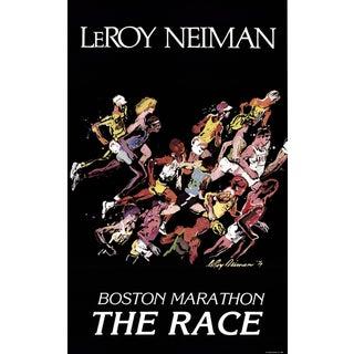 "LEROY NEIMAN Boston Marathon 38"" x 23.5"" Poster 1979 Expressionism Black, Multicolor Marathon, Running, Race, Competitio - a Pair For Sale"