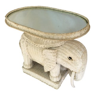 Vintage White Wicker Elephant Side Table With Mirrored Tray For Sale