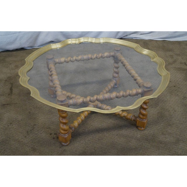 Quality Brass & Glass Tray Top Coffee Table - Image 7 of 9