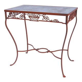 Vintage Iron Side Table with Basket Motif Orange Paint Glass Top For Sale