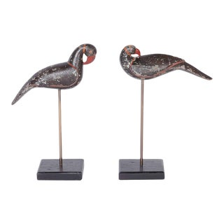 Anglo Indian Carved Wood Birds on Stands - A Pair For Sale