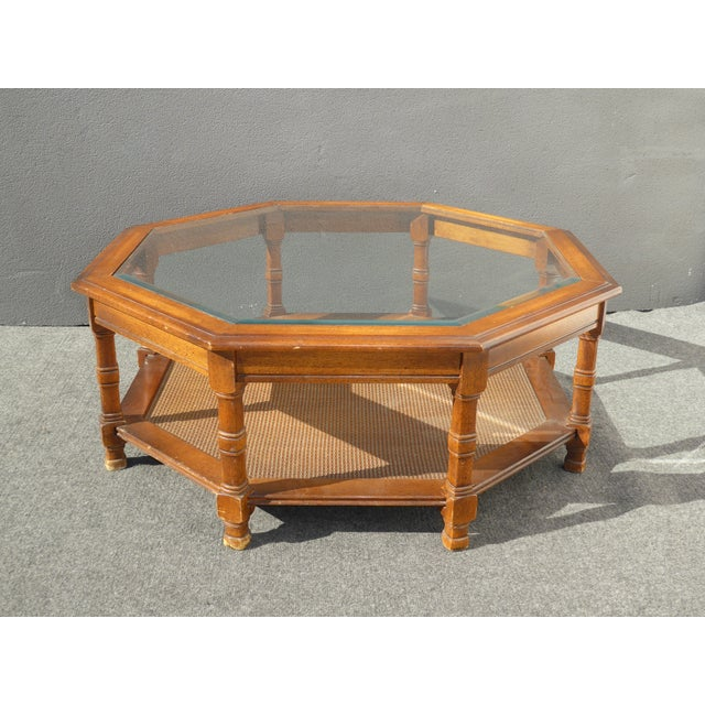 Mid Century Octagon Beveled Glass Top Coffee Table - Image 3 of 9