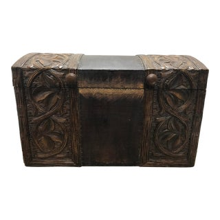Rustic Wooden Craved Trunk For Sale