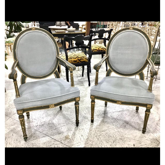 Green Pair of 18th Century Italian Neoclassic Armchairs For Sale - Image 8 of 13