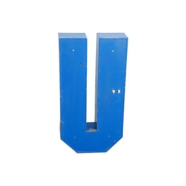 Lg. Industrial Blue & White Metal Marquee Letter U - Image 4 of 5