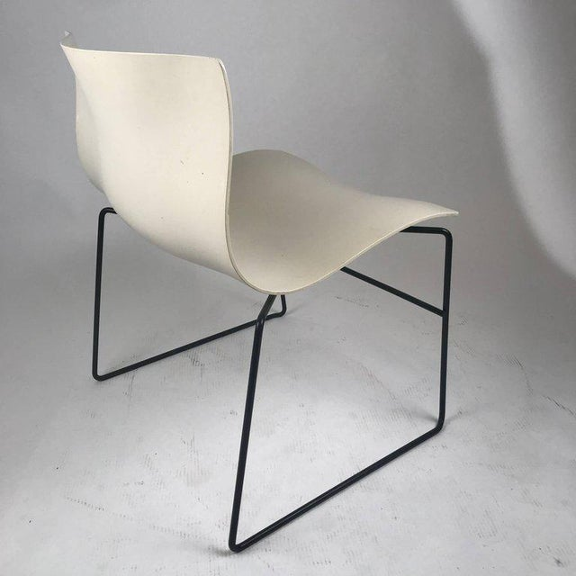 1980s Knoll Massimo Vignelli Handkerchief Stacking Chair in Black & White For Sale - Image 5 of 10