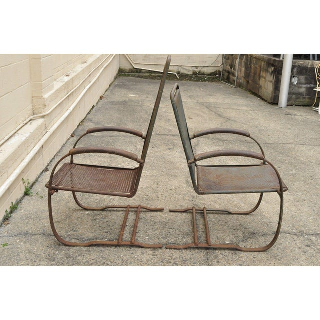 Vintage Steel Metal Mesh His and Hers Patio Bouncer Lounge Chairs - a Pair For Sale In Philadelphia - Image 6 of 12
