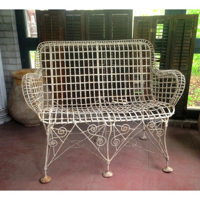 1870s Vintage French Double Wired Iron Wire Victorian Garden Patio Settee For Sale - Image 13 of 13